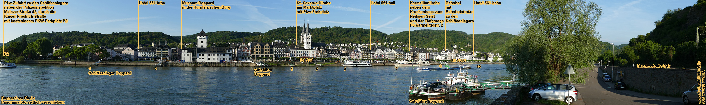 <holiday in Boppard on the romantic Rhine River in Germany